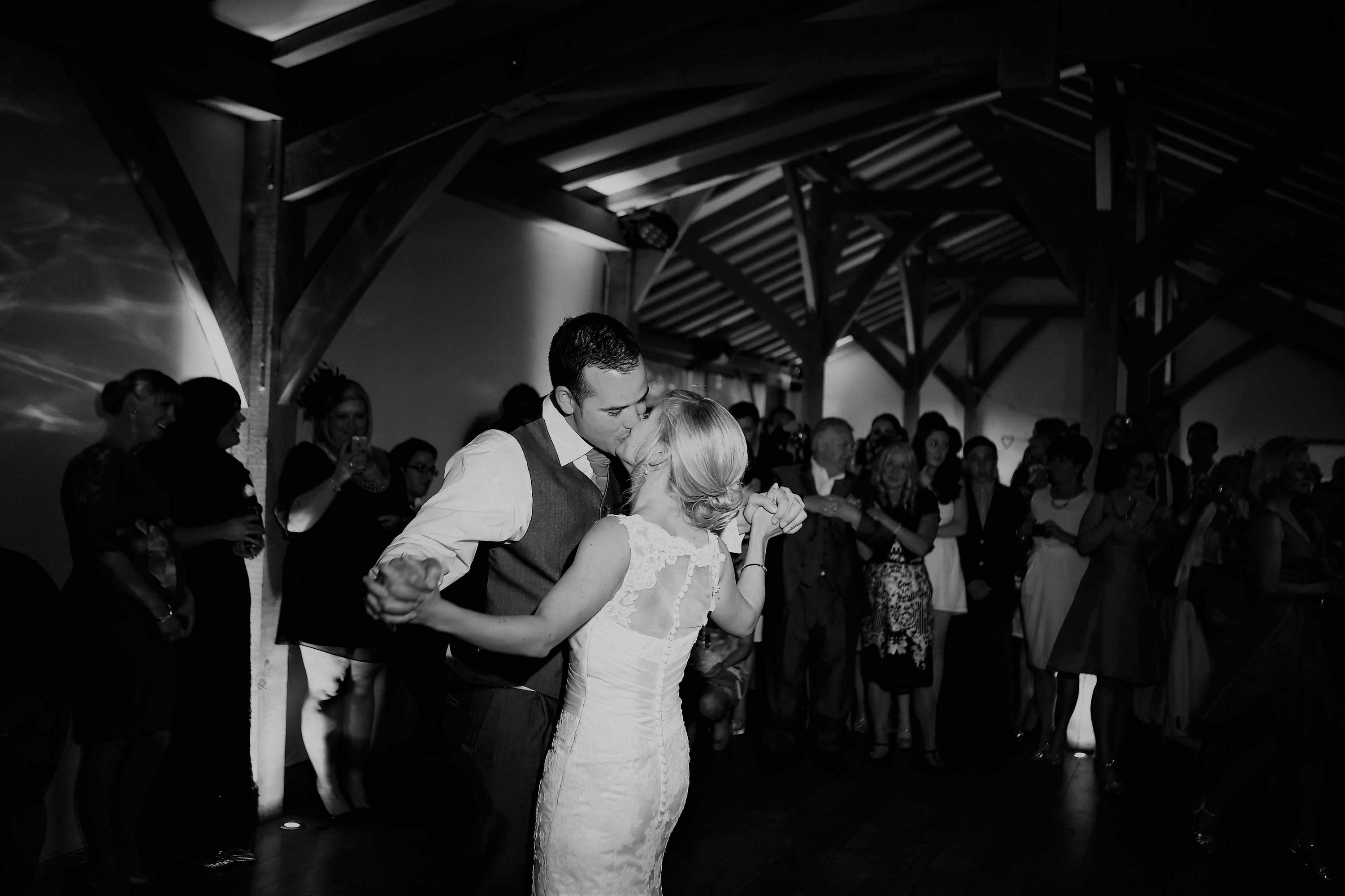 At a wedding inside the barn - the evening do