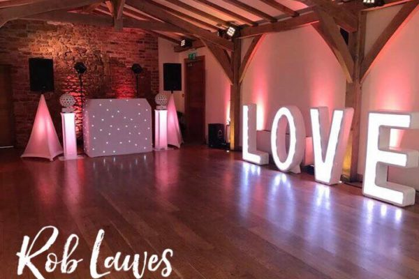 Dance floor and decorations for a wedding
