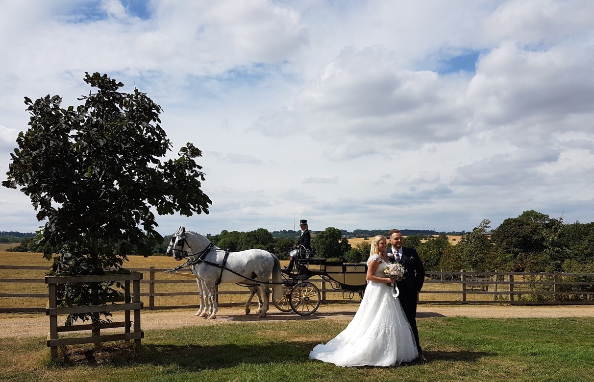 Bride and groom standing in front of a horse and carriage