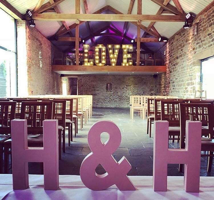 Letter signs at a wedding
